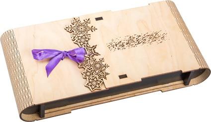 упаковка деревянная с бантиком