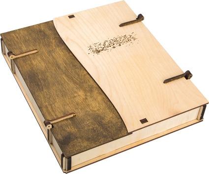 двух дверная коробка под книжку из дерева